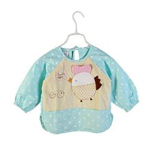 Cute Bird Waterproof Sleeved Bib Baby Feeding Bibs Kids Painting Apron BLUE
