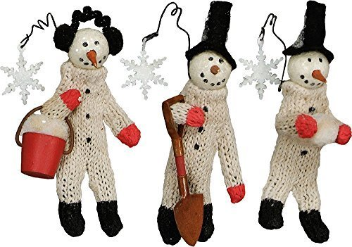 Primitives By Kathy Snowmen At Work 4.25 inch Tall Ornaments