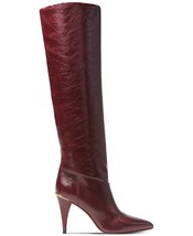 Michael Kors MK Women's Tall Knee High Leather Rosalyn Dress Boots Oxblood image 2