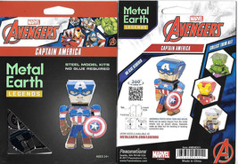 Marvel Captain America Figure Metal Earth Legends 3-D Laser Cut Steel Mo... - $12.55