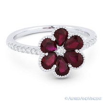 1.72 ct Pear-Shape Red Ruby & Diamond Pave 18k White Gold Right-Hand Flo... - £1,374.79 GBP