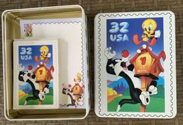 Tweety Bird & Sylvester Postal Stamp Tin Box Stationary Set Cards Warner... - $24.74