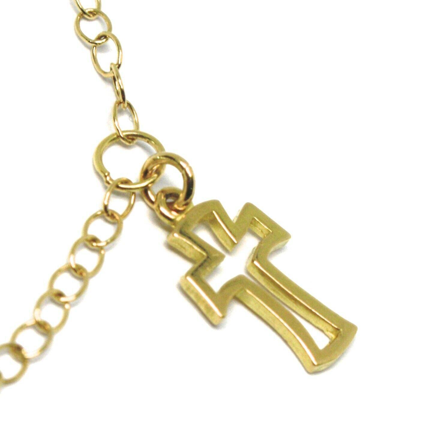 Pulsera Oro Amarillo Blanco 18K 750 , Cruz, Medalla Milagrosa, Corazón, 17 CM