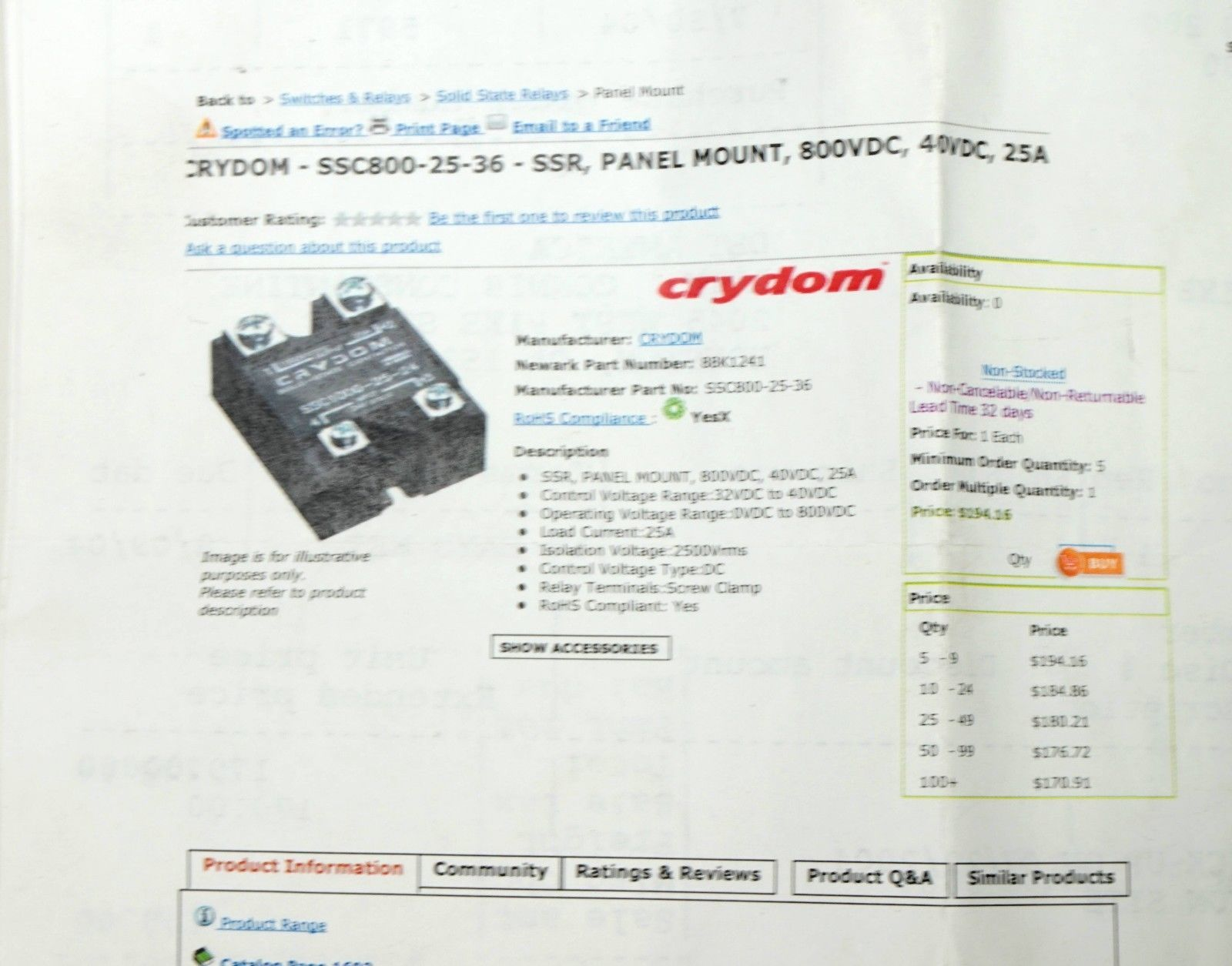 Crydom Ssc800 25 36 Solid State Relay Output And 50 Similar Items Brands 800 Vdc Amp Input 36v