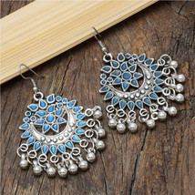 Oxidized Silver Fabulous Floral Designer Enamel Dangle Earrings For Women - $13.00