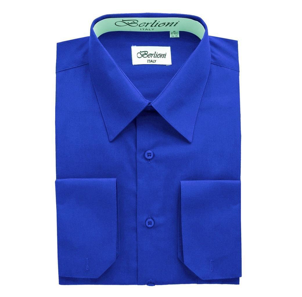 NEW BERLIONI ITALY MEN'S FRENCH CONVERTIBLE CUFF SOLID DRESS SHIRT ROYAL BLUE