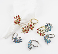 Fennco Styles Jeweled Peacock Design Metal Napkin Ring - Set of 4 - 2 Co... - $14.99