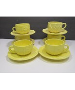 6 Secla Portugal Yellow Cabbage Cups and Saucers - $39.60