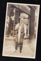 Antique Photograph Man Holding Large Fish in Front of Metropolitan Cash ... - $5.94