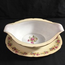 Vintage Gold Castle Hostess Pattern Gravy Boat Attached Underplate Made ... - $28.17