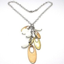 925 Silver Necklace, White Agate Pendant, Cluster, Oval Pink, Chain Rolo image 1