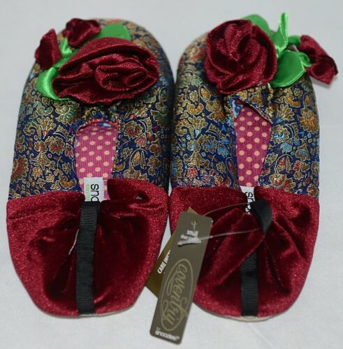 Snoozies Brand Coventry Collection Navy Red Womens Slippers Size SM