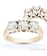 Round Brilliant Cut Moissanite 3-Stone Setting Engagement Ring in 14k Ro... - €680,98 EUR+