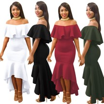 Off the shoulder ruffled  Maxi dress Party dress at Bling Brides Bouquet - $49.99