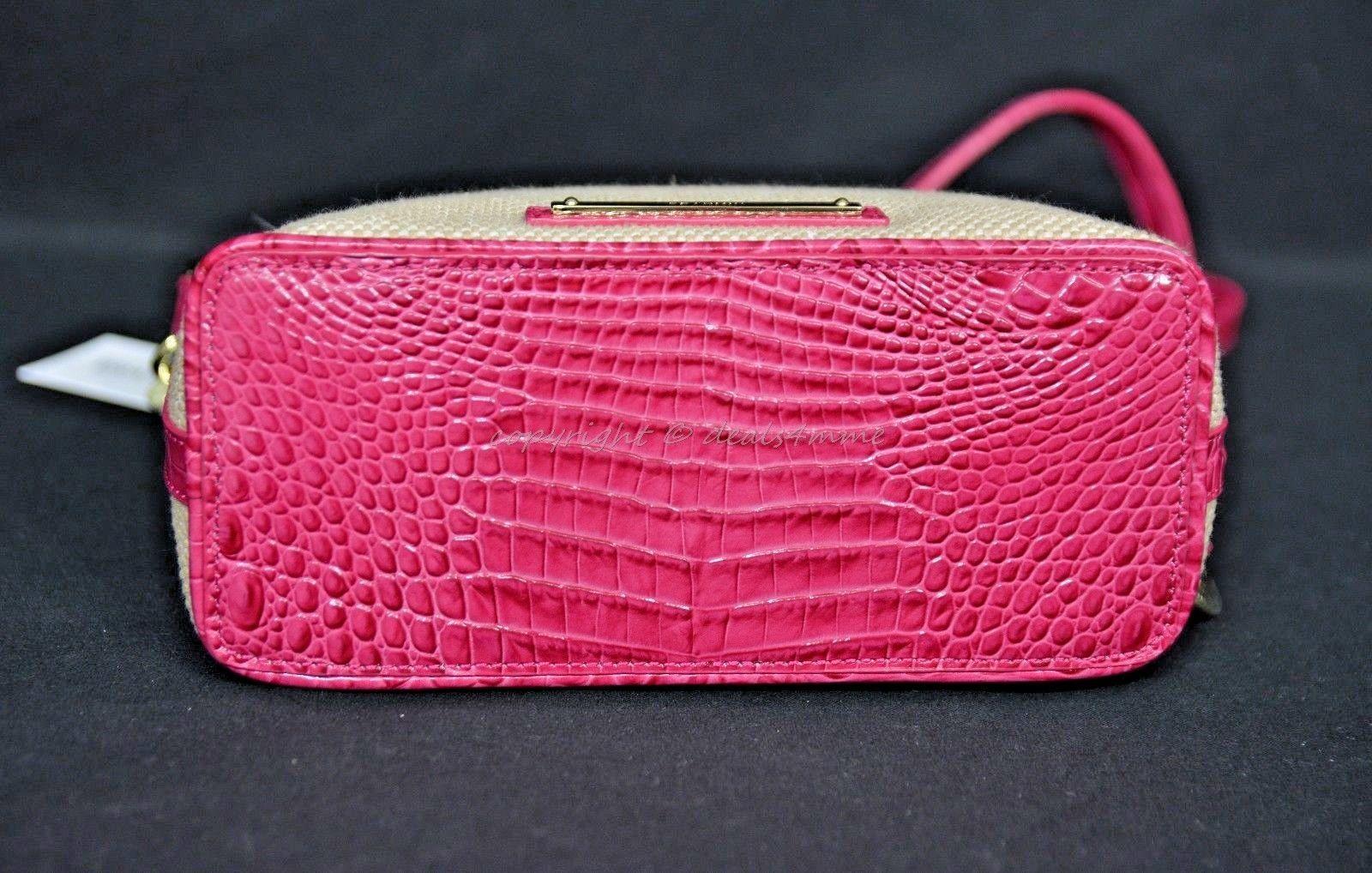 NWT Brahmin Mini Duxbury Shoulder Bag in Punch Harbor, Pink Leather/Beige Fabric image 11