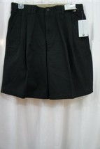 Geoffrey Beene GB Mens Shorts Sz 32 Solid Black Cotton Extender Waistban... - $19.71