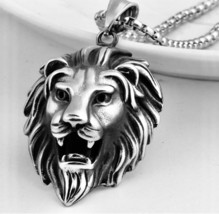 Lion Head Pendant,Stainless-Steel Silver + Box - $11.30