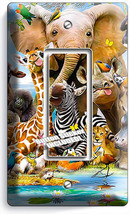 African Jungle Animals 1 Gang Gfi Lightswitch Wall Plate Baby Nursery Room Decor - $8.99