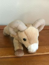 Gently Used Very Cute Aurora Plush Tan Big Horn Sheep Stuffed Animal – 5... - $8.31