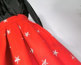 CHRISTMAS RED Winter Wool Midi Pleat Skirt High Waist Midi Skirt w. Star Pattern image 8