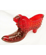 Fenton red amberina cat head shoe hobail with logo - $9.85