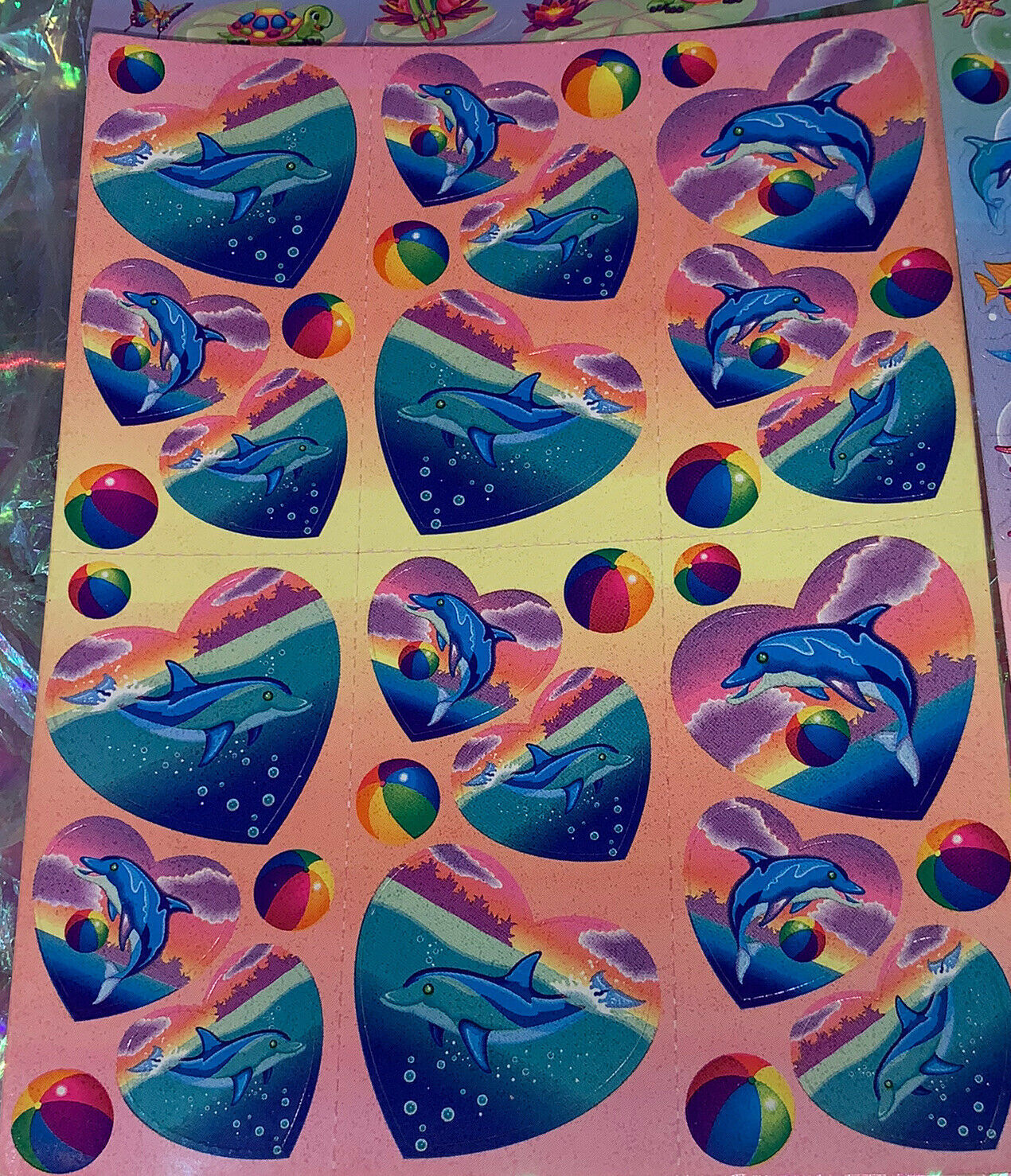 VINTAGE Crispy & Complete Perfect Lisa Frank Sticker Sheet DOLPHINS & HEARTS