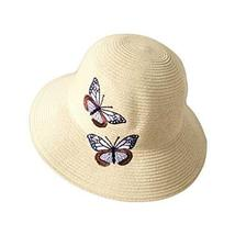 PANDA SUPERSTORE Holiday Travel Beach Daily Foldable Summer Straw Hat Butterfly