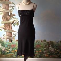 Express Woman Spaghetti Strap Black High Low Beaded Dress Size 5/6 - $37.62