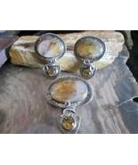 Vintage Artisan made MA Katke Sterling Silver Agate Gemstone Pendant Ear... - $140.00