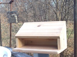 Handmade Small Bird Winter Warming Shelf with door Cedar built has insid... - $19.95