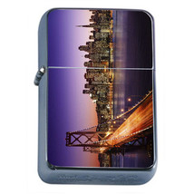 San Francisco At Night D1 Flip Top Oil Lighter Wind Resistant With Case - $12.82