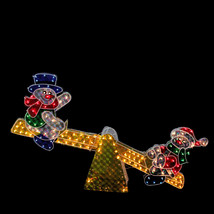 48' Holographic Snowmen on See Saw Lighted Outdoor Christmas Decoration - $173.71