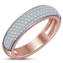 Round Cut Diamond 14k Rose Gold Plated 925 Silver Engagement Band Women'... - ₨5,887.21 INR
