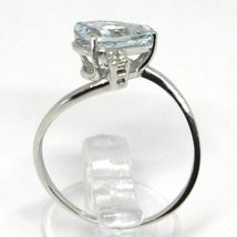 18K WHITE GOLD BAND RING AQUAMARINE 1.60 DROP CUT & DIAMONDS, MADE IN ITALY image 4