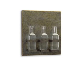 """11.25"""" Farmhouse Chic Tin Plaque with Three Glass Bottles Wall Decor - $28.30"""
