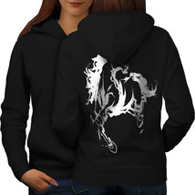 Horse Cool Printed Animal Sweatshirt Hoody Wild Mustang Women Hoodie Back - $21.99+