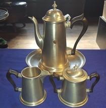 Vintage STEIFF Pewter 4-Piece Coffee or Tea Pot w IPS Advertising GREAT ... - $71.96
