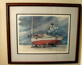 Framed, Matted and Signed  John J. Coen Sailboat Print Galloway - $70.00
