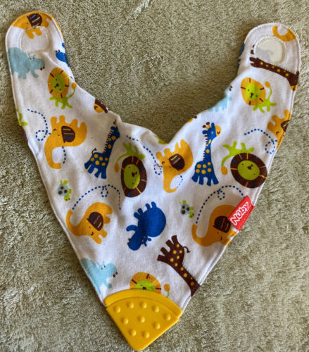 Primary image for Nuby Boys White Yellow Elephants Blue Hippo Baby Drool Bib Baby Teether