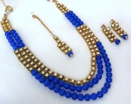 Indian Bollywood Blue Gold Plated Kundan Fashion Bridal Jewelry Necklace Set 3 - $23.74