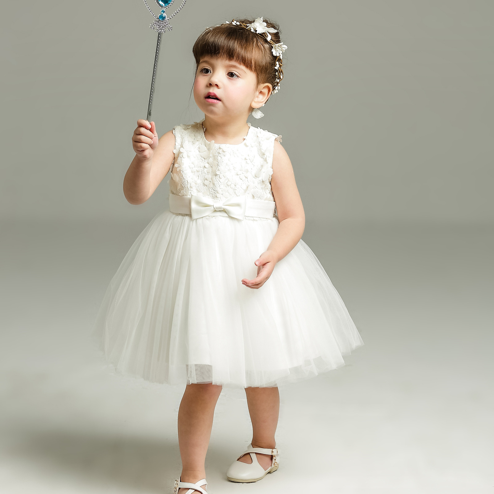 New Body Dress 0-24 Month Strapless White Flower Girl Dress Ball Gowns Short2018