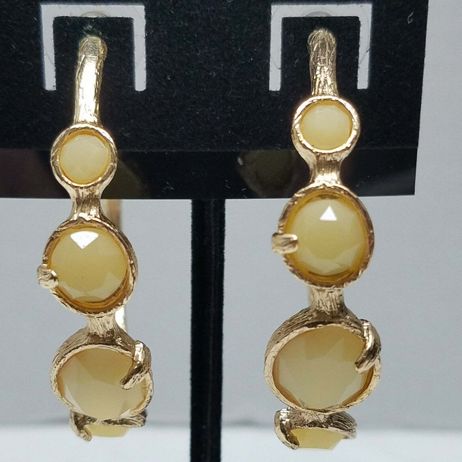 Primary image for Gold Tone Textured Loops With Simulated Stones Earrings Vintage