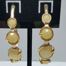 Gold Tone Textured Loops With Simulated Stones Earrings Vintage - $15.83