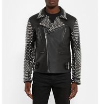 Mens Punk Style Studded Real Leather Jacket Plein Rock Design Leather Jacket - $174.42+