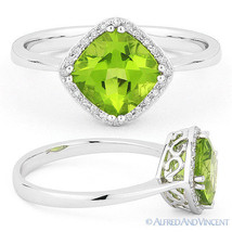 1.77ct Cushion Cut Green Peridot Diamond Halo Engagement Ring in 14k Whi... - €389,84 EUR