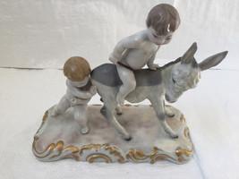 Lladro 01000126 Children With Donkey Retired 1980 Rare Figure - $968.22