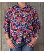 Lands End 18 size Blouse Blue Floral No Iron Top Womens Career Casual Shirt - $23.12