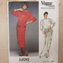 1985 Vogue American Designer Sewing Pattern 1510 Kasper Devant Dress Size 8 CUT - $24.70