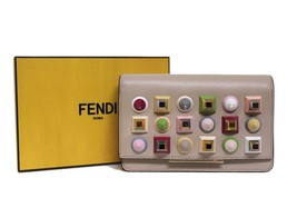 New Fendi Wallet On Chain Studded Leather Cloud Messenger Clutch Bag - $1,311.46 CAD