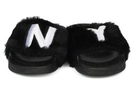New Women Faux Fur NY - New York Open Toe Slip On Footbed Slide -17849 By Qupid image 2